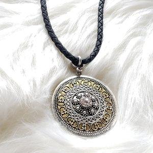 Lia Sophia. Leather Rope Medallion Necklace